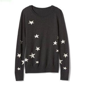 GAP M Petite Intarsia Stars Gray Pull Over Sweater